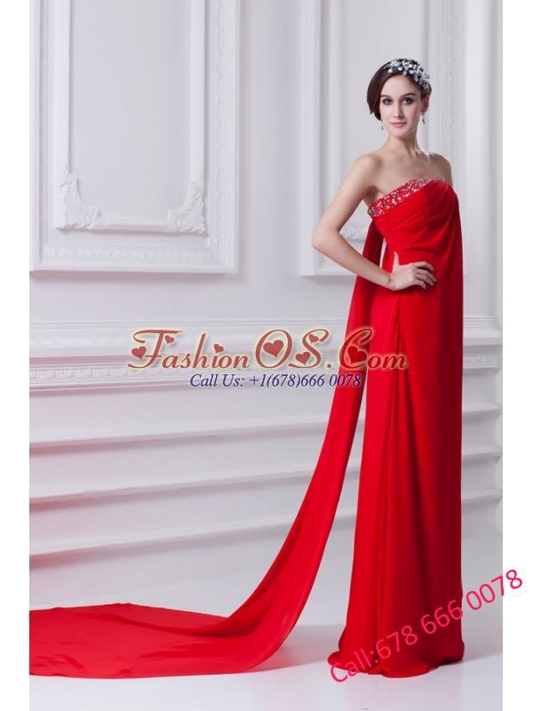 Empire Red Strapless Beading Chiffon Watteau Train Prom Dress