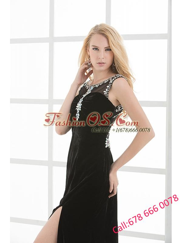 Empire Scoop Beading and Appilque chiffon Black Prom Dress