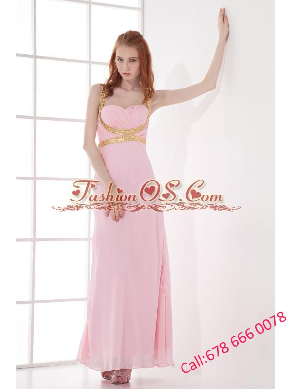 Empire Straps Baby Pink Prom Dress with Beading and Ruchings Chiffon