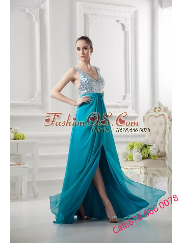 Empire Straps High Slit Pailette Teal Chiffon Prom Dress
