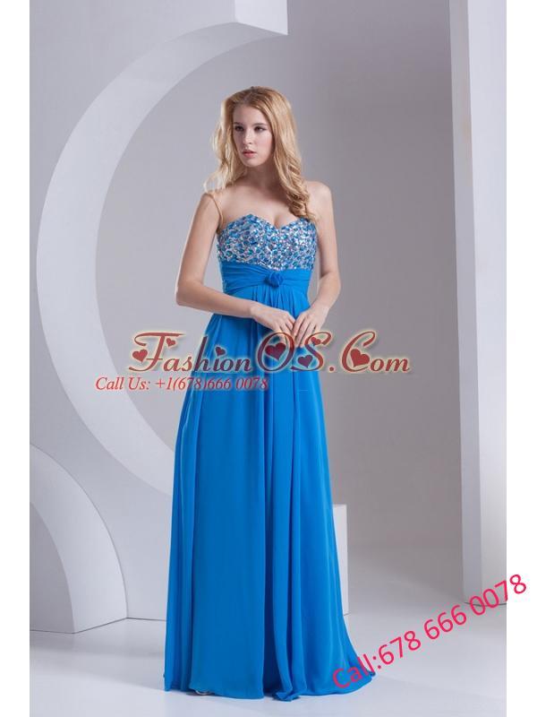 Empire Sweetheart Chiffon Beading Deep Sky Blue Prom Dress