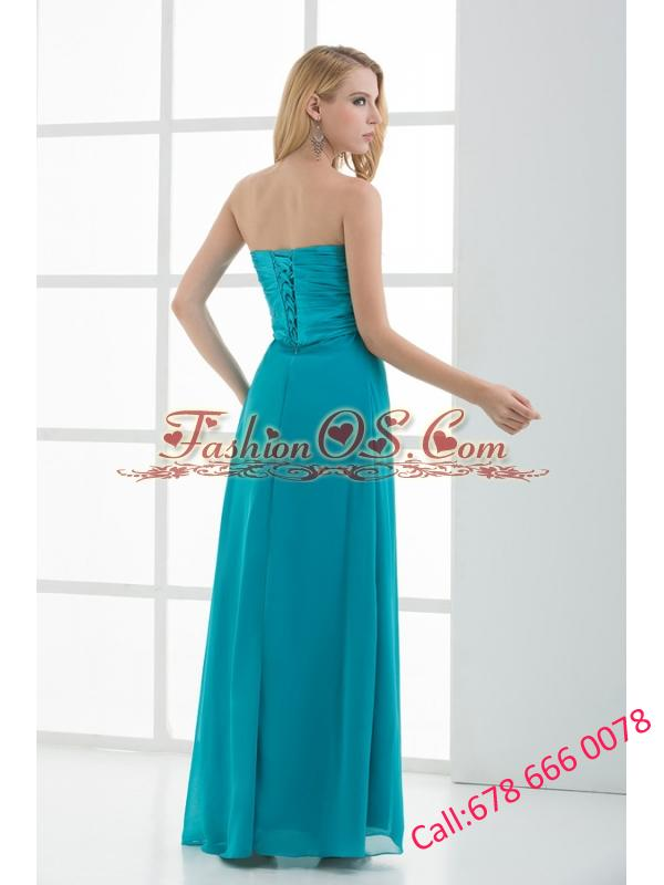 Empire Teal Blue Sweetheart Floor-length Beading Taffeta Prom Dress