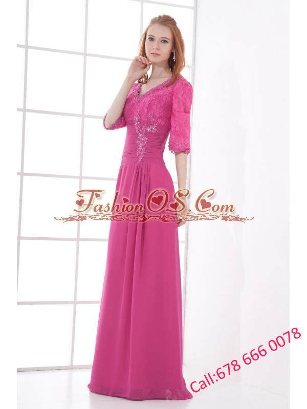 Empire V-neck Half sleevess Lace Pink Prom Dress