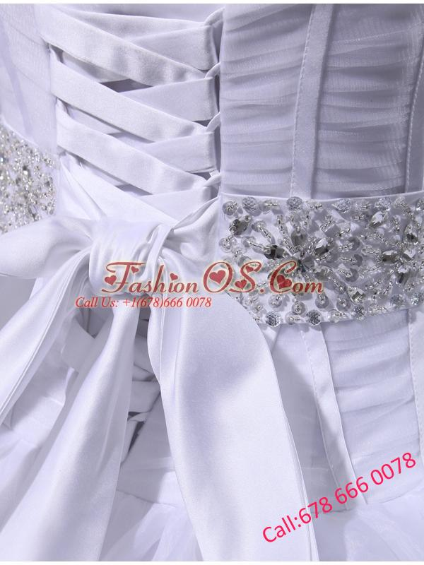 Fashinable Princess Sweetheart Beading and Appliques Wedding Dress with Chapel Train