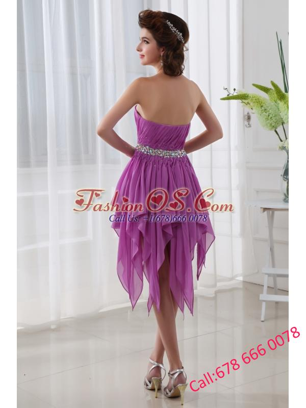 Fuchsia Empire Sweetheart Short Beading Ruching Chiffon Prom Dress