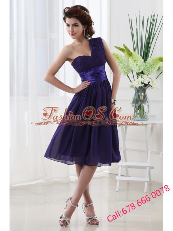 Lovely One Shoulder A-line Knee-length Prom Dress with Belt