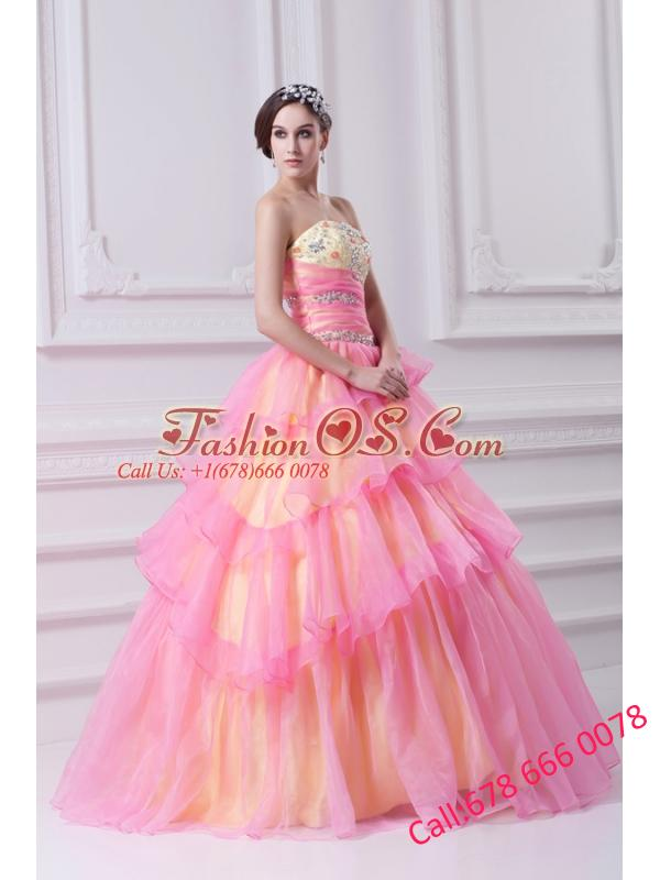 Pretty Ball Gown Strapless Beading and Appliques Hot Pink Quinceanera Dress With Zipper Up