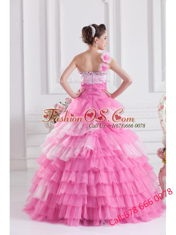 Pretty Rose Pink Princess One Shoulder Beading Quinceanera Dress with Ruffled Layers