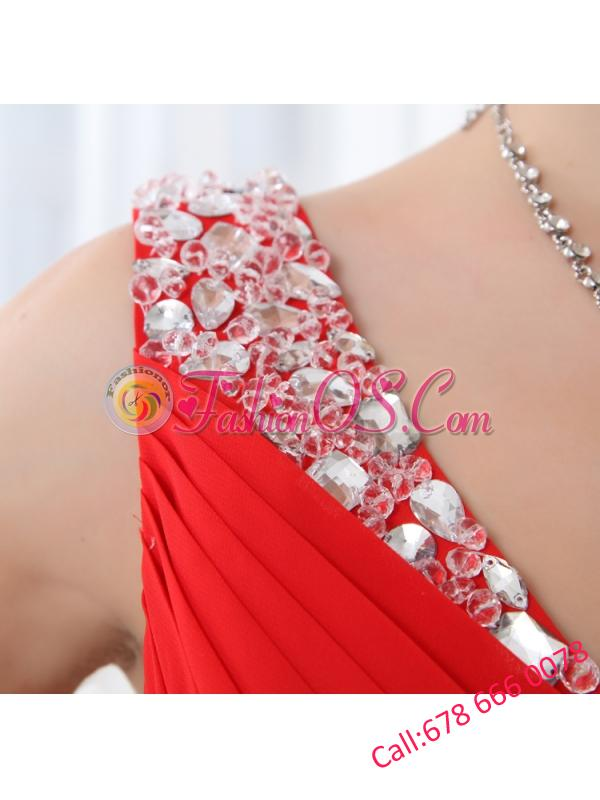 Red V-neck Beading and Ruching Floor-length Chiffon Prom Dress