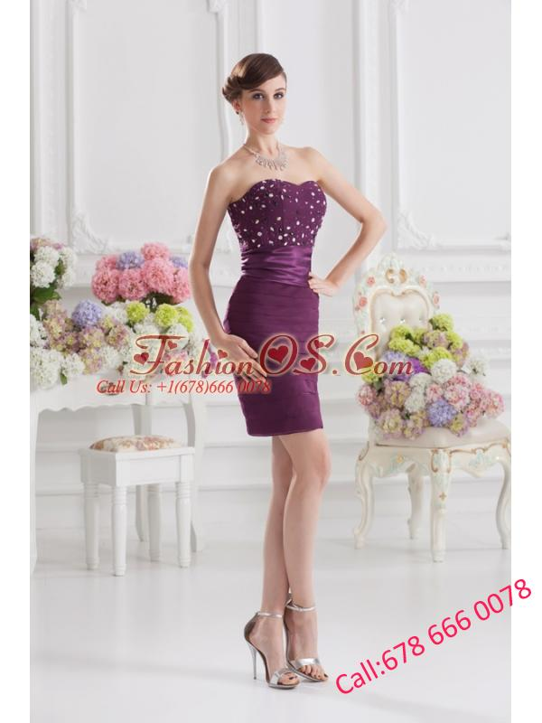 Sweetheart Column Beading and Ruffed Layers Prom Dress in Dark Purple