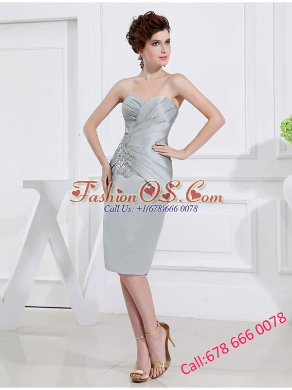 Sweetheart Mini-length Ruching and Appliques Grey Prom Dress