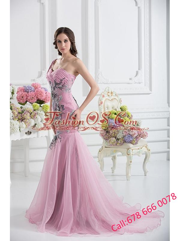 Sweetheart One Shoulder Mermaid Appliques Ruching Pink Prom Dress