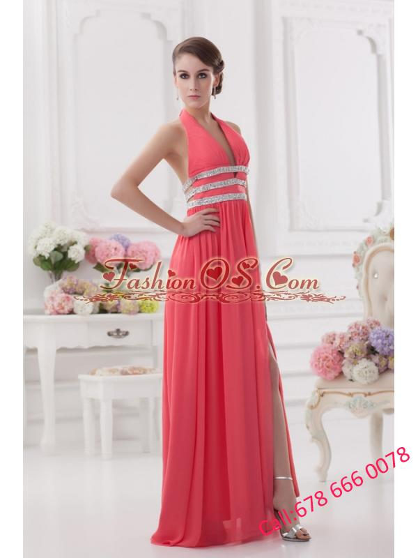 Watermelon Halter top High Slit Chiffon Prom Dress with Beading