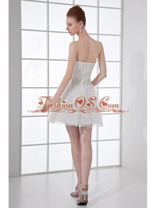 2014 Cheap A-line Strapless Tulle Appliques Wedding Dress with Mini-length