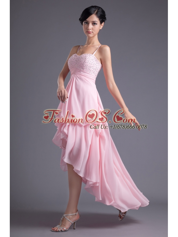 A-line Baby Pink Sweetheart Beading Chiffon High-low Prom Dress