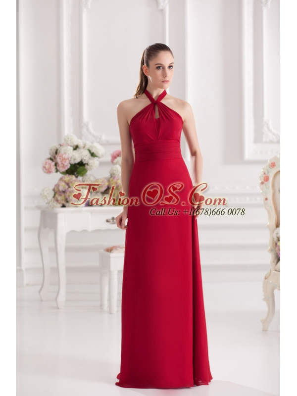 A-line Halter Top Floor-length Ruching Satin Prom Dress