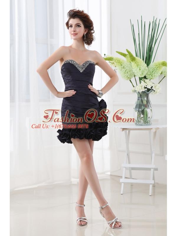 Navy Sweetheart Blue Beadings Hand Made Flowers Mini-length Prom Dress