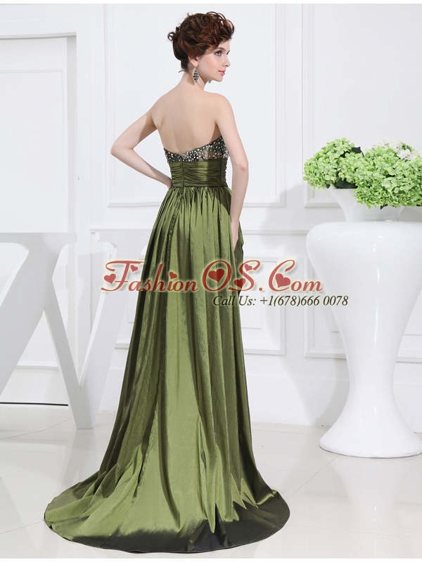 Sweetheart High-low Beading,Ruching Taffeta Olive Green Prom Dress