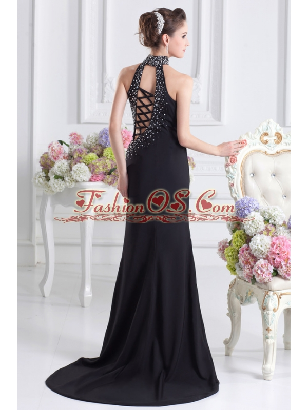 2014 Black Halter Top Empire Prom Dress with Beading