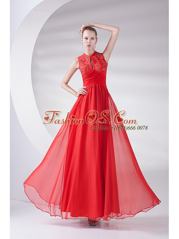 2014 New Empire Scoop Appliques Wine Red Chiffon Prom Dress