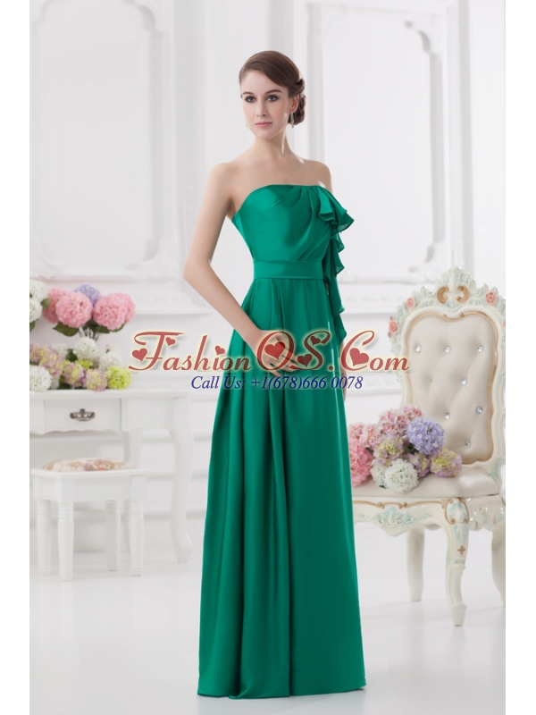 2014 Strapless Ruching Sea Green Floor-length Taffeta Prom Dress
