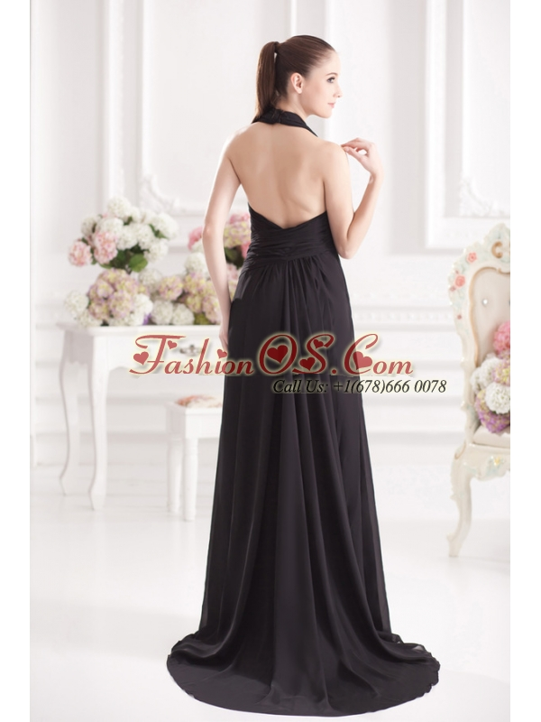 A-line Halter Top Floor-length Chiffon Black High Slit Prom Dress
