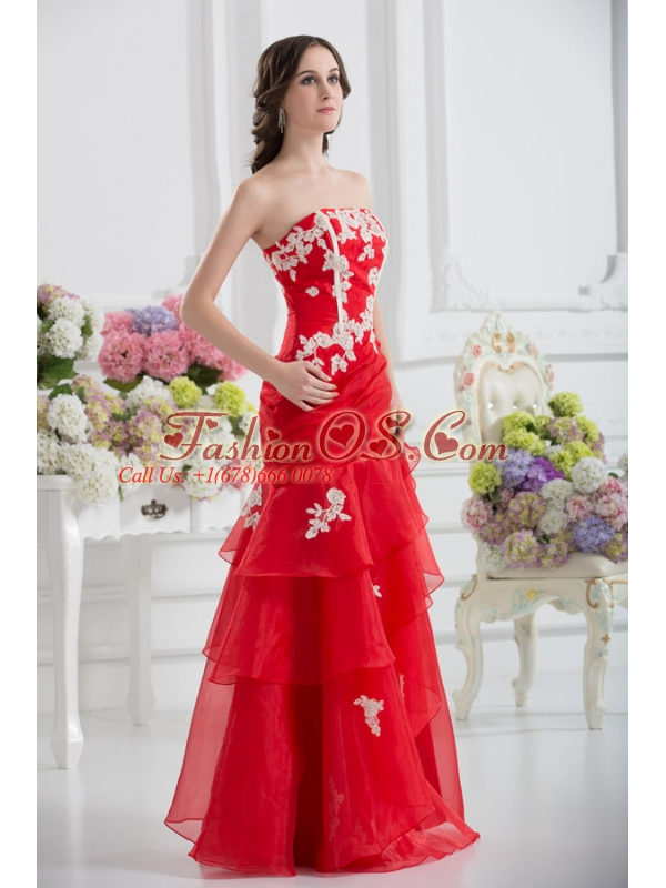 A-line Strapless Appliques Ruffled Layers Prom Dress