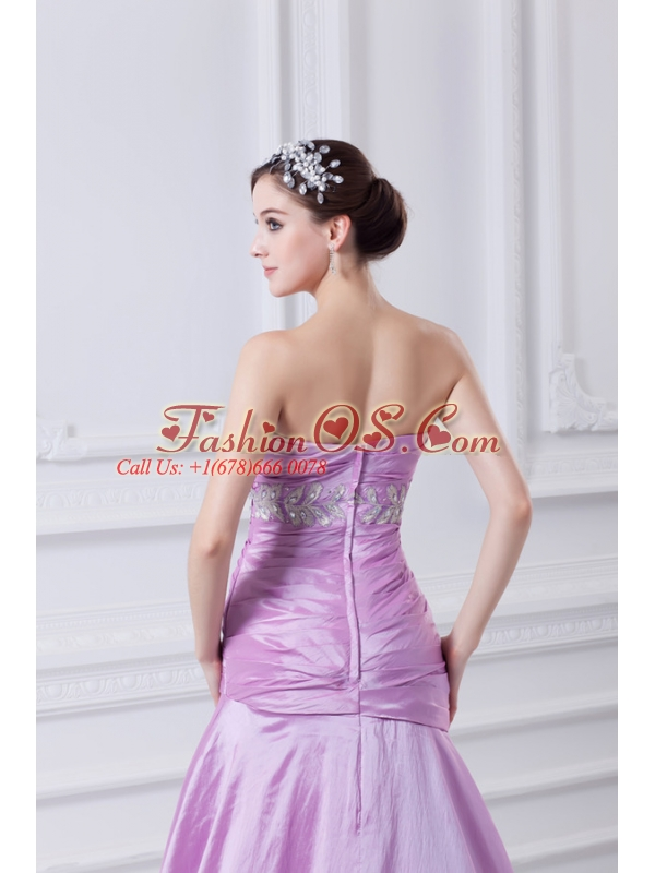 A-line Strapless Lilac Taffeta Appliques with Beading Prom Dress