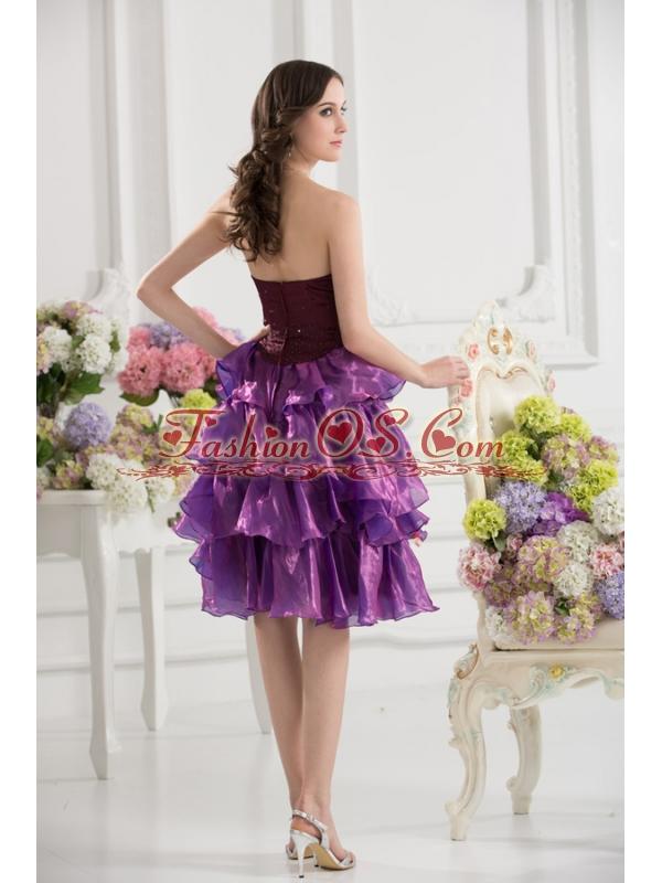 A-line Strapless Organza Beading Ruffled Layers Dark Viole Prom Dress