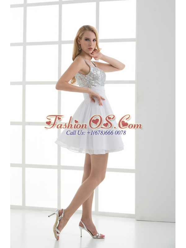 A-line Straps White Sleeveless Beading and Ruching  Prom Dress