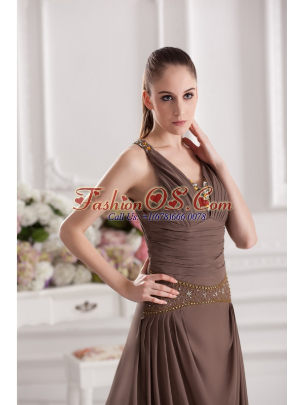 A-line Sweetheart Floor-length Beading Ruching Brown Prom Dress 1