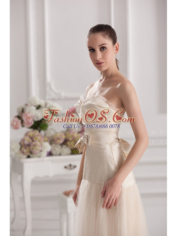 A-line Sweetheart Floor-length Bowknot Champagne Prom Dress