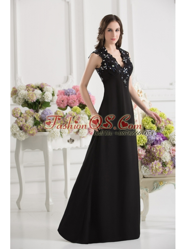 A-line V-neck Chiffon Beading Floor-length Prom Dress in Black