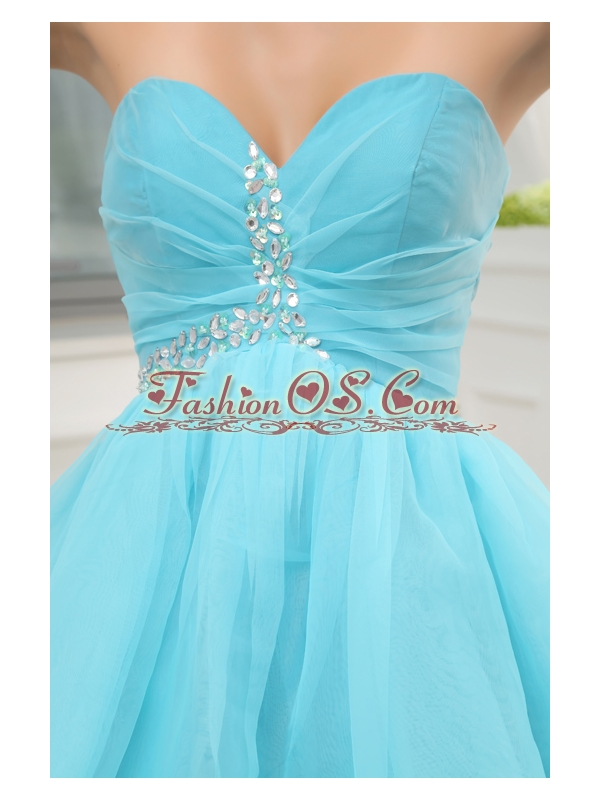 Aqua Blue Sweetheart Beading and Ruching Prom Dress