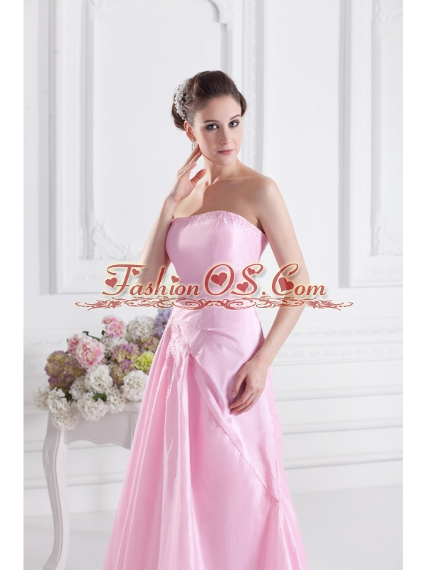 Baby Pink A-line Court Train Strapless Ruching Prom Dress