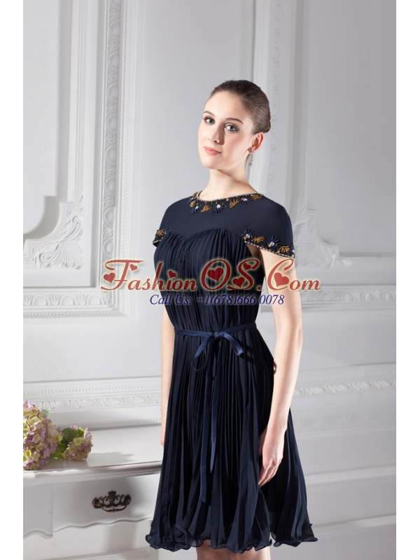 Bateau Knee-length A-line Cap Sleeves Prom Dress