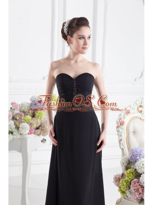 Black Empire Floor-length Prom Dress with Beading and Ruching