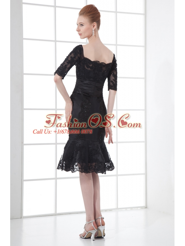 Black Mermaid Off The Shoulder Ruching Appliques Half Sleeves Prom Dress
