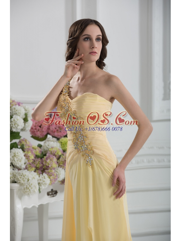 Bowknot Sweetheart Empire Watteau Train Prom Dress in Gold