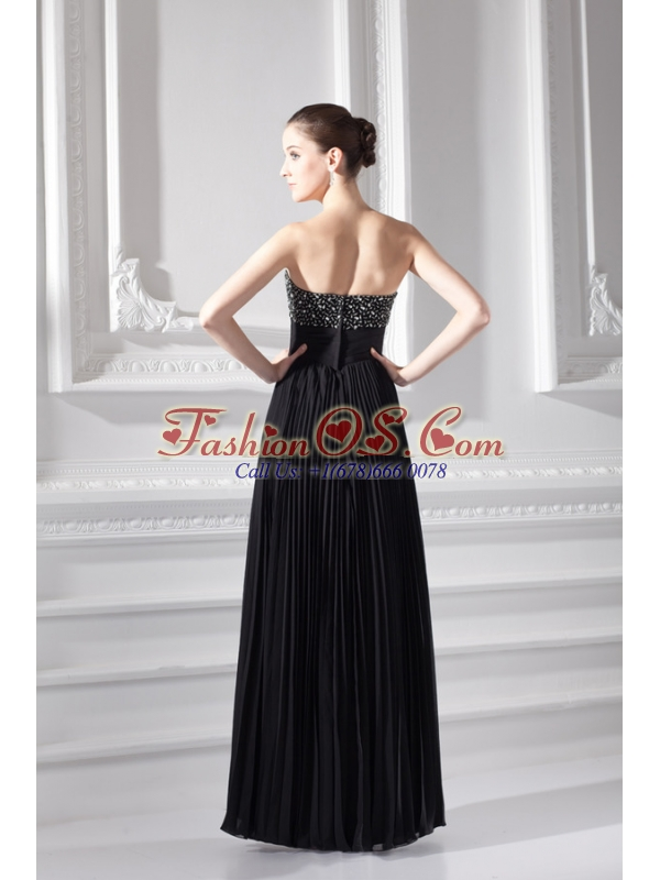 Chiffon A-line Strapless Prom Dress with Beading and Pleats