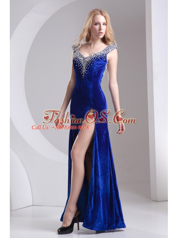 Column Blue Straps Beading High Slit Special Fabric Prom Dress