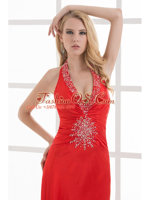 Column Halter Top Floor-length Beading Chiffon Red Prom Dress