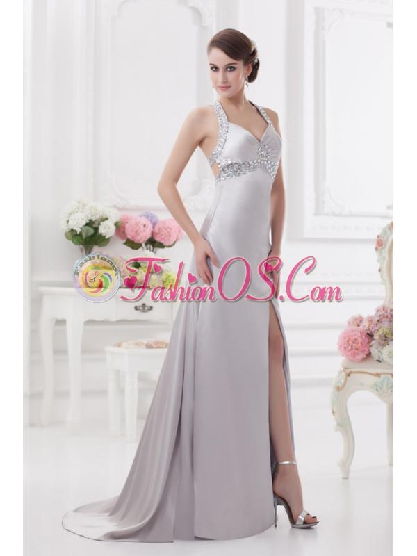 Column Halter top High Slit Beading Prom Dress in Light Grey