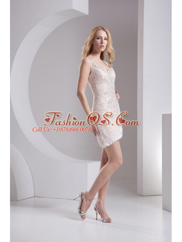 Column Linen One Shoulder Lace Asymmetrical Prom Dress with Beading