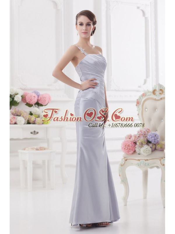 Column One Shoulder Beading and Ruching Prom Dress in Lavender