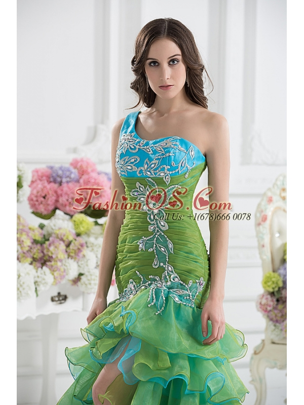 Column One Shoulder Organza Green Prom Dress with Appliques and Ruffed Layers