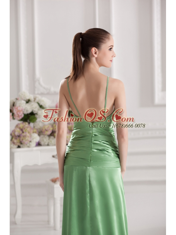 Column Spaghetti Straps Floor-length Ruching Taffeta Green Prom Stress