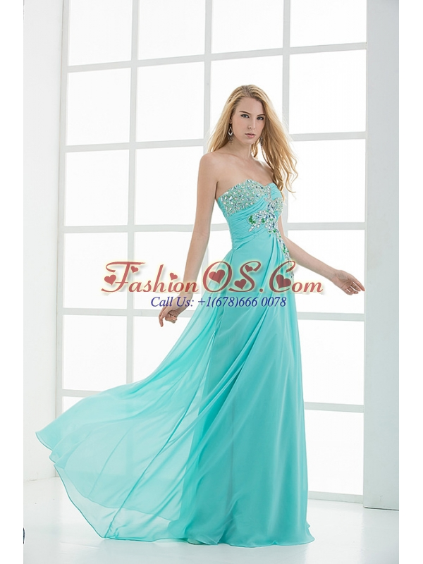 Column Sweetheart Floor-length Applique Aqua Blue Prom Dress