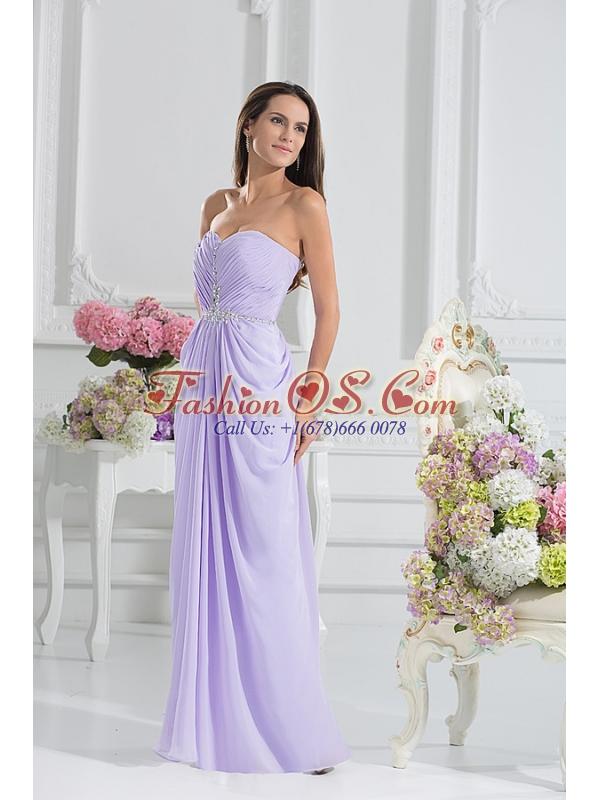 Column Sweetheart Floor-length Ruching Lavender Prom Dress