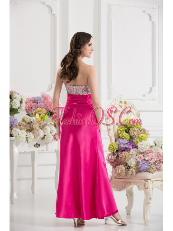 Column Sweetheart Taffeta Beading Hot Pink Ankle-length Prom Dress
